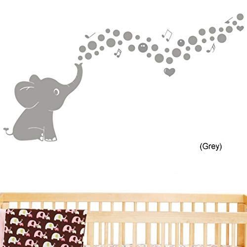 Cute Bubble Elephant Wall Quote Wall Decals Vinyl Stickers Home Decor Wall Decorations for Kids Living Room(Grey)