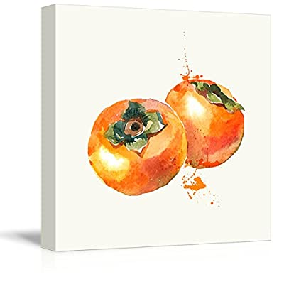 Square Persimmon Watercolor Fruits Watercolor Art and Illustrations 12