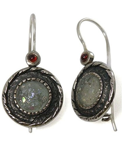 Sterling Silver Earrings with 2,000 Year Old Roman Glass and Garnet (BTS-NEA1829/RG) 2000 Years Old Roman Glass