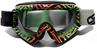 CRG Sports Motocross ATV Dirt Bike Off Road Motorcycle Racing Goggles CRG26-2 Yellow and Red Frame with Zebra Print