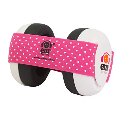 Ems for Kids Baby Earmuffs - White with Pink/White. Made in The U.S.A! The Original and ONLY Earmuffs Designed specifically for Babies Since 2009 ...