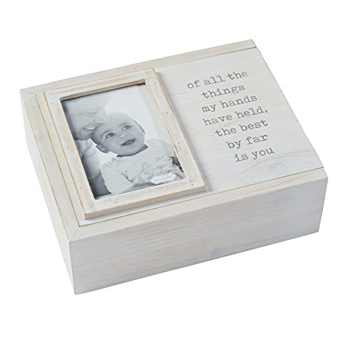 Mud Pie Decorative Photo Keepsake Nursery Box - Best is You, White/Grey