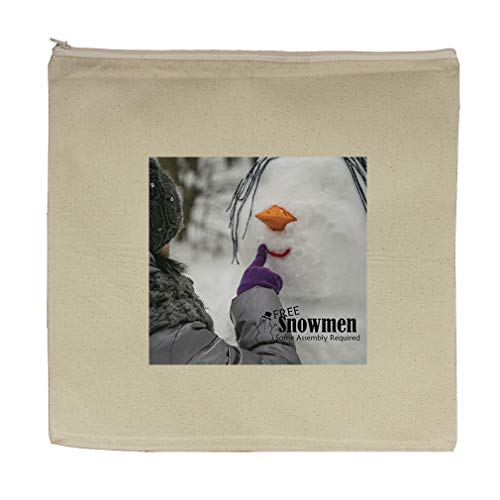 Snowman Some Assembly Is Required Cotton Canvas Zipper Tote Bag 7.5