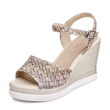 RainbowElk Women's Sandals Spring Summer Slingback Creepers Comfort Leatherette Outdoor Dress Casual Wedge Heel Buckle Braided Strap Hollow-out , beige , us6.5-7 / eu37 / uk4.5-5 / cn37