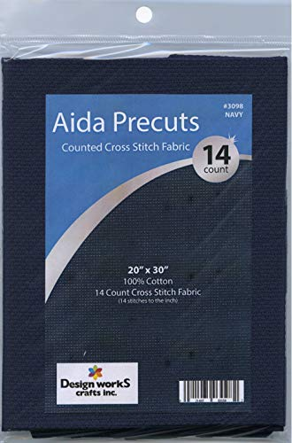 Design Works Gold Quality Aida 14 Count 20″X30″-Navy
