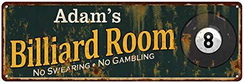 am's Billiard Room Green Personalized Sign Man Cave 6x18 206180009034 ()