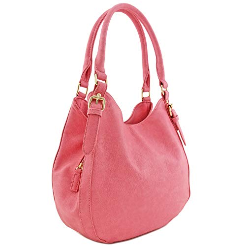 Light-weight 3 Compartment Faux Leather Medium Hobo Bag (Pink)