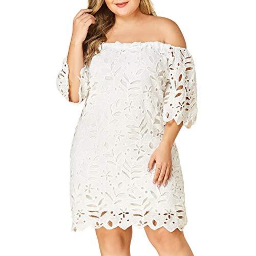 (Lelili Women Plus Size Lace Slim Dress Elegant Halter Collar Party Dress Off Shoulder Hollow Short Sleeve Mini Dress White)