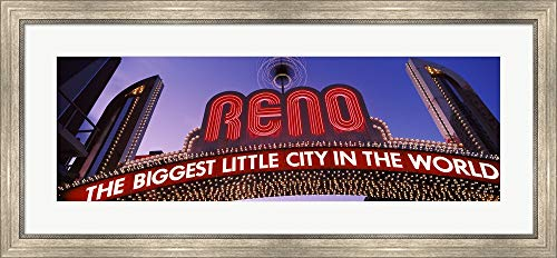 Low Angle View of The Reno Arch at Dusk, Virginia Street, Reno, Nevada, USA by Panoramic Images Framed Art Print Wall Picture, Silver Scoop Frame, 41 x 19 -