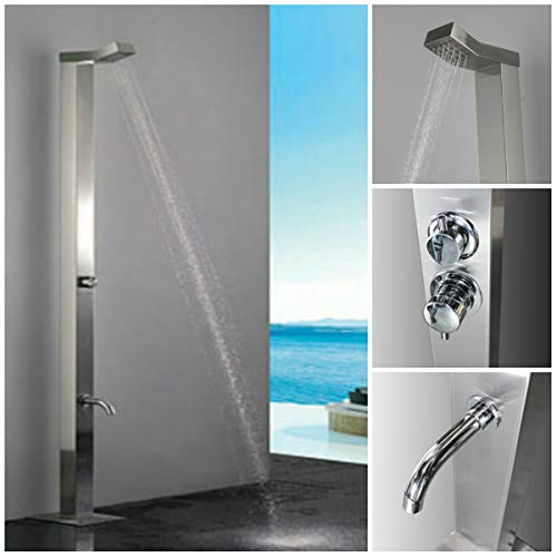 316 Marine Grade Stainless Steel Outdoor Shower Panel (BONDI) Swimming Pool Backyard Bathroom Hot & Cold Rainfall Wall Mounted or Free Standing Outside ()