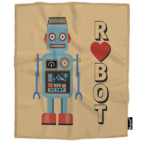 Mugod Robot Blanket Vintage Cute Cartoon Android with Heart Robotic Machine Fuzzy Soft Cozy Warm Flannel Throw Blankets Decorative for Boys Girls Toddler Baby Dog Cat 40X50 -
