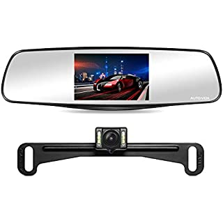 """Discount AUTO-VOX M3 Dual Lens Dash Cam 5"""" LCD Full HD 1080P Rearview Mirror Dash Cam and IP 68 Waterproof Car Reverse License Plate Backup Camera with LED Superior Night Vision Advanced Dashcam Parking Mode"""