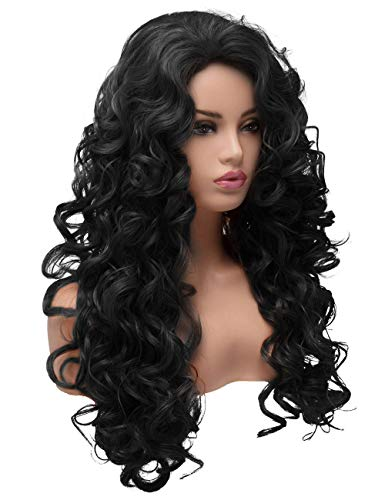 BESTUNG Long Hair Curly Wavy Full Head Halloween Wigs for Women Cosplay Costume Party Hairpiece (Natural Black)