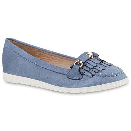 Damen Slipper Lack Plateau Loafers Metallic Schuhe Profilsohle Loafer Flats Glitzer Slippers Quasten Lochung Flandell Blau Avion