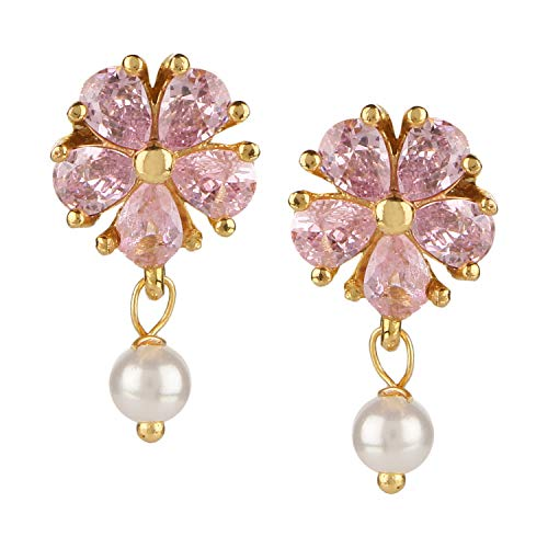 Crystal Earrings Floral Drop (Efulgenz 14 K Gold Plated Hypoallergenic Floral Cubic Zirconia Pearl Drop Stud Earrings Pierced Jewelry for Women Girls Brides Bridesmaid)