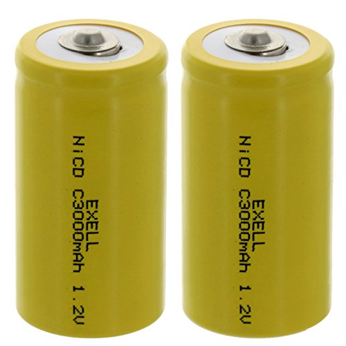 (2-PACK) Exell C Size 1.2V 3000mAh NiCD Button Top Rechargeable Batteries for high power static applications (Telecoms, UPS and Smart grid), electric mopeds, meters, radios, RC devices, electric tools (Smart Ups 3000 Battery)