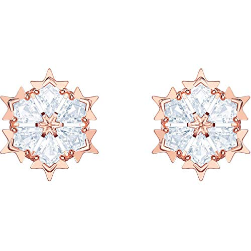(Swarovski Crystal Authentic Magic Pierced Earrings, White, Rose Gold Plated - High Class Stone Studded Fancy Jewelry and Elegant Fashion Accessories - Women's Wedding and Cocktail Jewelries)