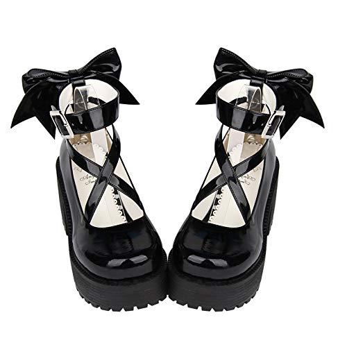 De Fondo Grueso Cruzado Redonda Mujer Grande Lolita Cabeza Lazo Pingxiannv Torta Zapatos Cinturón Estudiante Exq1ZXw7P