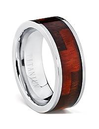 Metal Masters Co.® Titanium Ring Wedding Band with Blackwood & Hawaiian Koa Rosewood Inlay, 8mm Comfort Fit