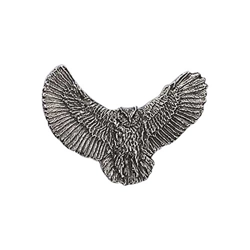 Owl Bird Pin - Creative Pewter Designs, Pewter Great Horned Owl Full Body, Handcrafted Bird Lapel Pin Brooch, Antique Finish, B067