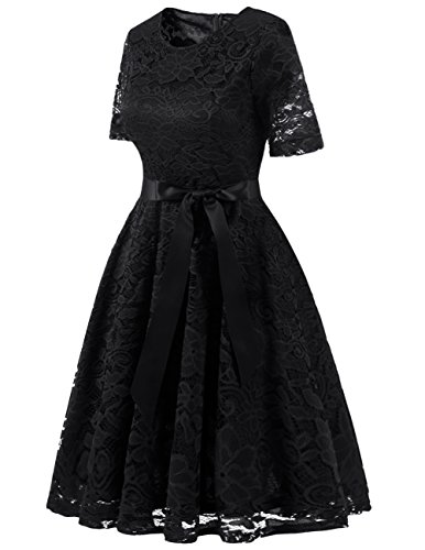 Short Cocktail Swing Dress DRESSTELLS Lace Bridesmaid Black Dress Scoop Formal Floral S8adOw