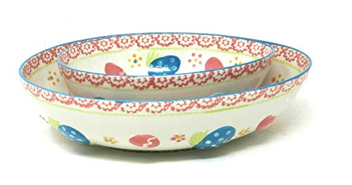 Temp-tations Nesting Bowls, 2 qt & 1 qt, Easter, Bake & Serve - Egg Hunt