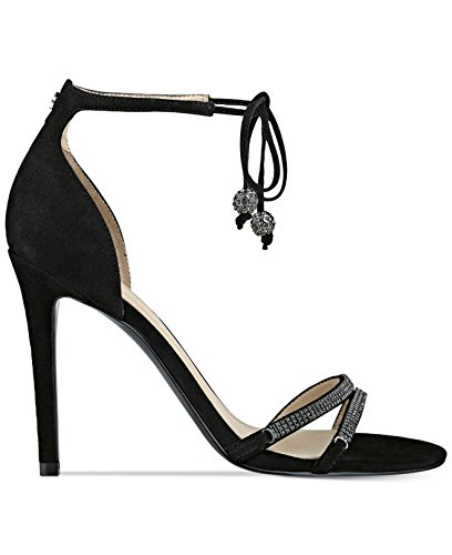 Guess Ankle Strap Sandals (GUESS Womens Peri Leather Open Toe Bridal Ankle Strap, Black Suede, Size 8.0)