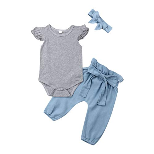 (3PCS Toddler Girls Romper Outfit Flying Sleeve Romper Tops Denim Jeans High Waist Pants Bow Tie Waistband with Headband (Grey&Blue, 0-6M) )