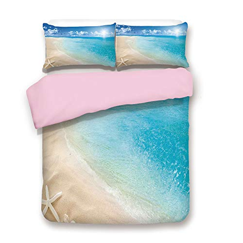 Pink Duvet Cover Set,King Size,Sunny Summer Seashore with Clear Sky Seashells Starfish Clouds Aquatic Picture,Decorative 3 Piece Bedding Set with 2 Pillow Sham,Best Gift For Girls Women,Aqua Cream Blu ()