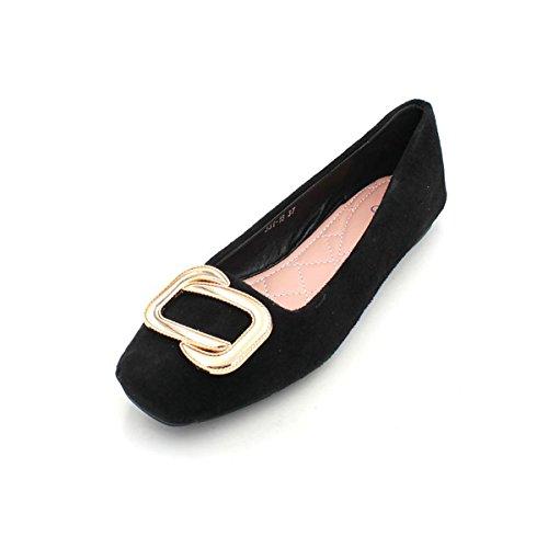 En Antidrapantes Printemps Noir Chaussures De Et Kphy Mtal Automne Plat Les Dans Boutons Fond Femmes Thirty Chaussures Daim six Ct Pour Saison Simples 8xqTS