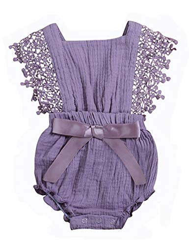 Baby Girl Romper Bodysuits Lace Flutter Sleeveless Bowknot Jumpsuit Outfits Clothes 18-24 Months]()