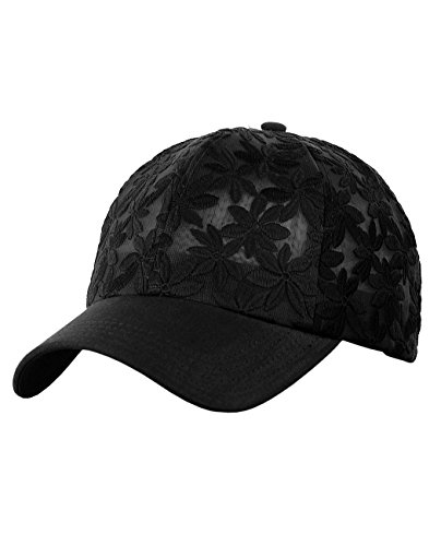 (C.C Women's Floral Lace Panel Vented Adjustable Precurved Baseball Cap Hat, Black )