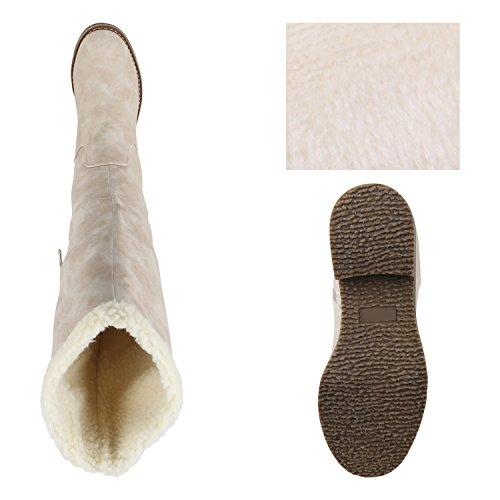 Stiefelparadies Warm Gefütterte Stiefel Damen Winterstiefel Damen Boots Schnallen Profilsohle Schuhe Kunstfell Winterschuhe Flandell Creme Weiss