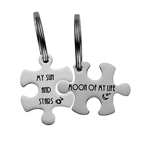 Haoflower 2 Set Couples Puzzle Pendant Tag Key Chain and Neckalce Stainless Steel Personalized Keychain Valentines Anniversary Gifts for Her Him (My Sun And Stars & Moon Of My Life - Key chain)