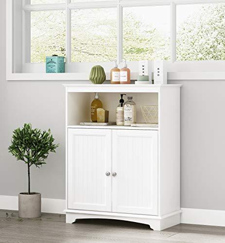 Spirich Home Bathroom Floor Cabinet with Double Shutter Doors and Adjustable Shelves, Freestanding Bathroom Storage…