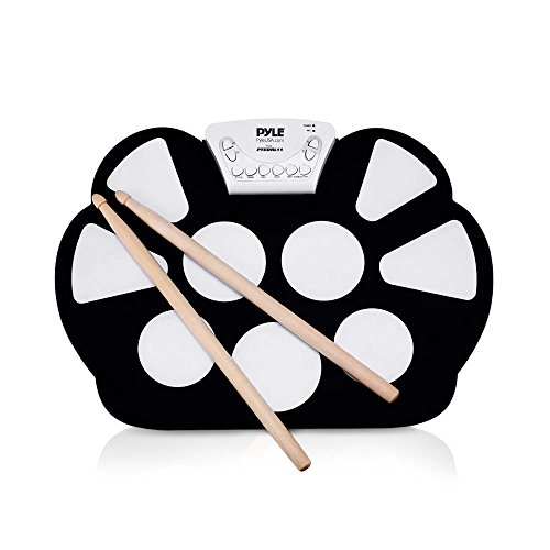 Pyle Electronic Roll Up MIDI Drum Kit W/ 9 Electric Drum Pads, Built-In Speakers, Foot Pedals, Drumsticks, & Power Supply Tabletop Roll Up Drum Kit | Loaded W/ Drum Electric Kits & Songs (PTEDRL11)