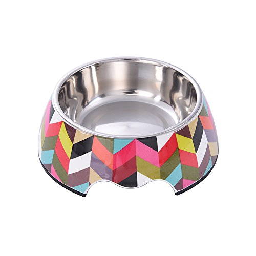 Yunt Classic Multicolor Thick Striation Pattern Pet Bowl with Melamine Stainless Steel Pet Dog Cat Bowls S (Patterns Striation)