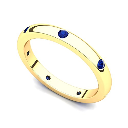 14k Yellow Gold Bezel set Sapphire Semi Eternity Band Ring, 8 14k Yellow Gold Semi Bezel