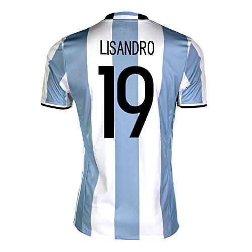 感謝祭キャスト効果的adidas Lisandro #19 Argentina Home Soccer Jersey Copa America Centenario 2016 YOUTH/サッカーユニフォーム アルゼンチン ホーム用 リサンドロ ジュニア向け