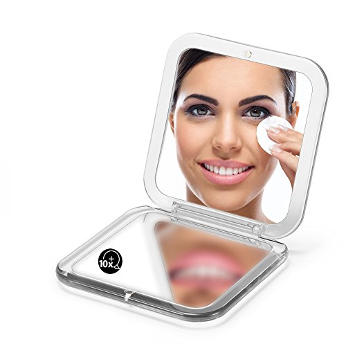 """OMIRO Folding Compact Mirror, 1X/10X Magnification 3½"""" Pocket Size Square Hand Mirror for Travel Makeup (Silver)"""