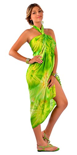 1World para mujer pareos Tie Dye Bañador para cover-up Pareo en color de su elección Lime Green-68
