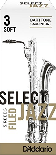 (Rico Select Jazz Baritone Sax Reeds, Filed, Strength 3 Strength Soft, 5-pack)