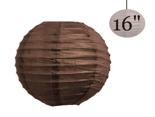 BalsaCircle 12 pcs Chocolate Brown 16-Inch Tall Paper Shades Lanterns - Lamp Wedding Event Birthday Party Home Decorations Supplies (Sale Table Chinese For Buffet)