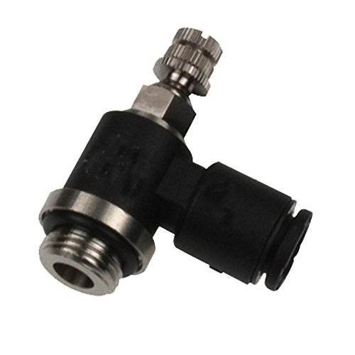 Parker FCMI731-6M-M5 Flow Control Regulator, Tube to Pipe, Composite, Push-to-Connect and Metric Miniature Right Angle, 6 mm and M5X0.8