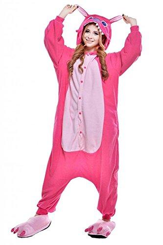 [Unisex Adult Pink Stitch Kigurumi Animal Onesie Pajamas Costume Cosplay Clothing Sleepwear Romper] (Role Reversal Halloween Costumes)