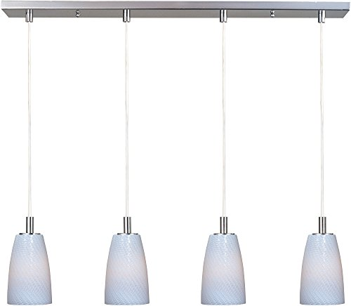 (ET2 E91044-13SN Carte 4-Light Linear Pendant, Satin Nickel Finish, White Ripple Glass, G9 Xenon Bulb, 3W Max., Dry Safety Rated, 2900K Color Temp., Low-Voltage Dimmable, Glass Shade Material, 9750 Rated Lumens)