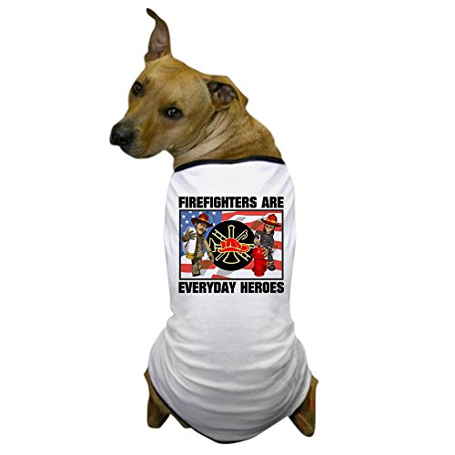 CafePress - Firefighter Heroes Dog T-Shirt - Dog T-Shirt, Pet Clothing, Funny Dog Costume (Dog Firefighter Costume)