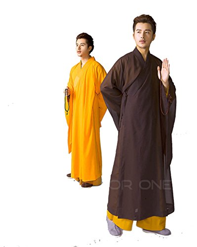 Zen Buddhist Meditation Haiqing Robe Long Kung Fu Gown Shaolin Monk Uniform Suit (#39, Black)