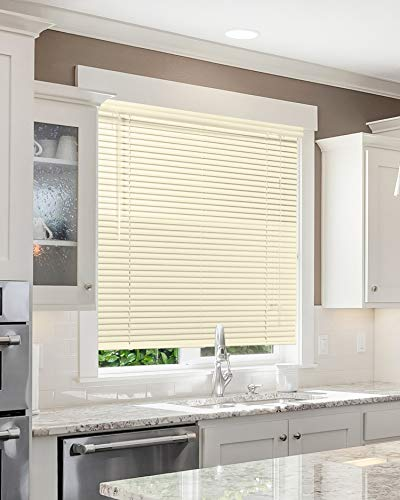 CHICOLOGY Custom Made Corded 1-Inch Aluminum Mini Blind, Blackout Horizontal Slats, Inside Mount, Room Darkening Perfect for Kitchen/Bedroom/Living Room/Office and More – 36″ W X 16″ H, Vanilla