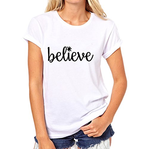 Weigou Woman T Shirt Short Sleeve Women Cute Graphic Tops Printed Funny Tee Junior Girls T Shirt (White, M) (Juniors Graphic White)